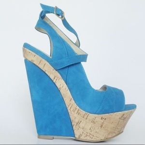 New Blue suede wedge with cork heel by Liliana